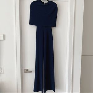 Club L Jumpsuit w/ Overlay Cape - Navy XS, UK 6